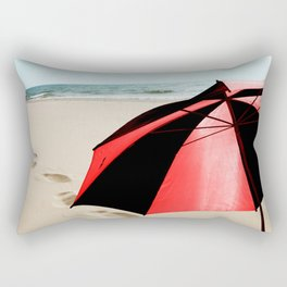 Red and Black Umbrella on the Beach with Footprints Rectangular Pillow