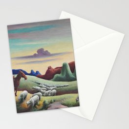 Navajo Sands, Monument Valley shepard with flock of sheep landscape painting by Thomas Hart Benton Stationery Cards