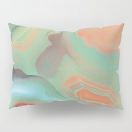 Living Coral and Teal Agate Pillow Sham