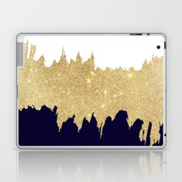 Modern navy blue white faux gold glitter brushstrokes Laptop & iPad Skin