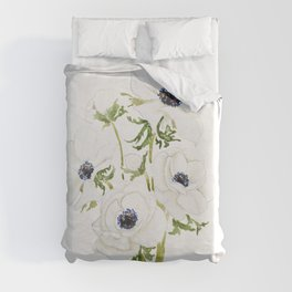 white anemone flower  watercolor painting Duvet Cover