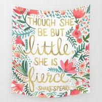 typography Wall Tapestries featuring Little & Fierce by Cat Coquillette