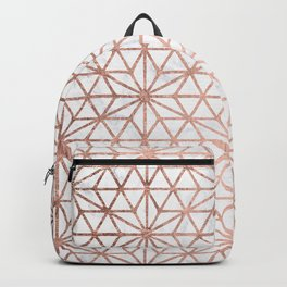 Modern rose gold stars geometric pattern Christmas white marble Backpack