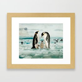 Emperor Penguin Family Framed Art Print