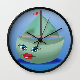 Digital Boat Illustration, Cute Catoon Ship Print, Mint Green Blue Wall Clock