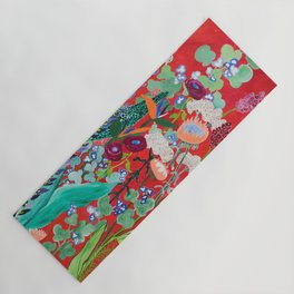 Red floral Jungle Garden Botanical featuring Proteas, Reeds, Eucalyptus, Ferns and Birds of Paradise Yoga Mat