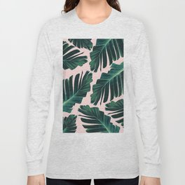Tropical Blush Banana Leaves Dream #1 #decor #art #society6 Long Sleeve T-shirt