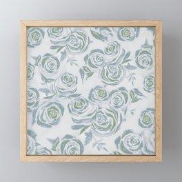 Dreamy Greens Rose Pattern Framed Mini Art Print