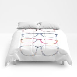 Bespectacled // Watercolor Glasses Print Comforters
