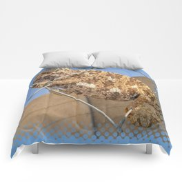 Chameleon In Shades of Brown on Fence Comforters