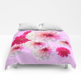 FUCHSIA CERISE-WHITE DAHLIA FLOWERS GARDEN ART Comforters