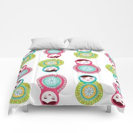 dolls matryoshka on white background, pink and blue colors Comforters