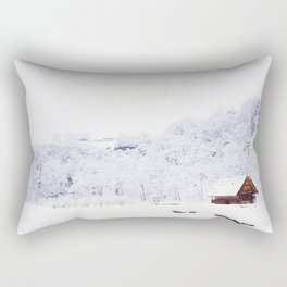 Cabin in the Snow (Color) Rectangular Pillow