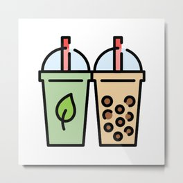 Bubble tea and Green Tea Metal Print