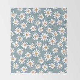 Daisies - daisy floral repeat, daisy flowers, 70s, retro, black, daisy florals dusty blue Throw Blanket