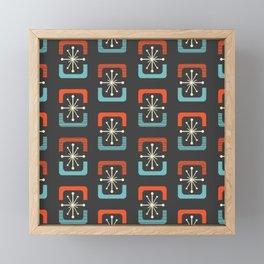 Mid Century Modern Starburst Shells Blue and Orange Framed Mini Art Print