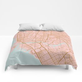 Pink and gold Manila map Comforters