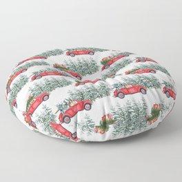 Corgis in car in winter forest Floor Pillow
