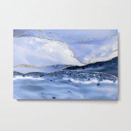 Blue Antartic Ocean Marble Waves Seascape Metal Print