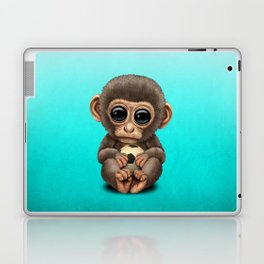 Cute Baby Monkey With Football Soccer Ball Laptop & iPad Skin
