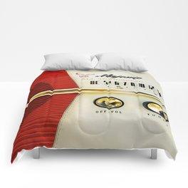 Retro red white radio Comforters