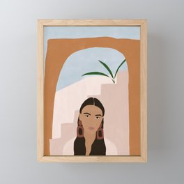 Desert girl illustration Framed Mini Art Print