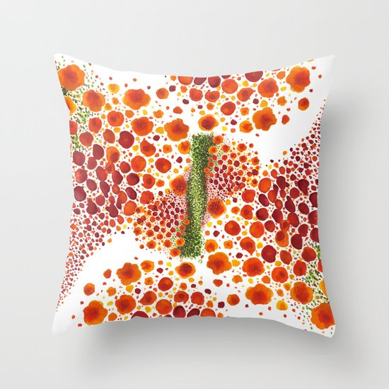 Paths of Color [Red, Orange and Green] Throw Pillow
