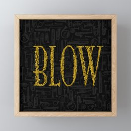 Blow BLACK & GOLD / Horn instruments forming type and background Framed Mini Art Print