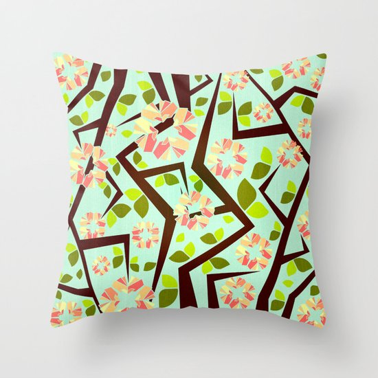 Blooming Trees Pattern III Throw Pillow