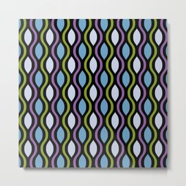 Retro Ogee Pattern 339 Lavender Blue and Olive Green Metal Print