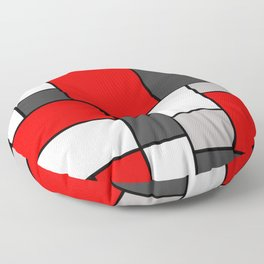 Red Black and Grey squares Floor Pillow