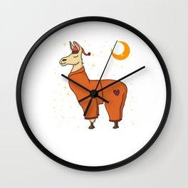 Cute & Funny Sleepy Llama in Pajamas Bedtime Wall Clock