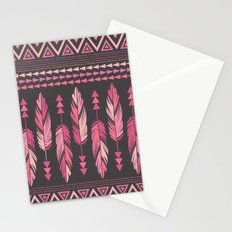 Painted Feathers-Gray Stationery Cards