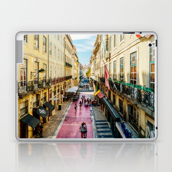 Beautiful Pink Street Downtown Lisbon City, Wall Art Print, Modern Architecture Art, Poster Decor Laptop & iPad Skin
