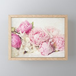 Peonies on white Framed Mini Art Print