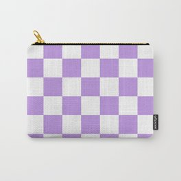 Checkered - White and Light Violet Carry-All Pouch