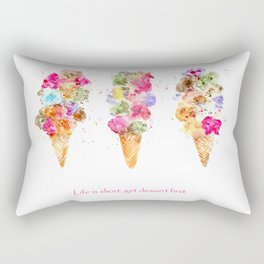Life is short, get dessert first || watercolor Rectangular Pillow