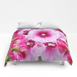 DECORATIVE FUCHSIA-PINK HOLLYHOCK  PATTERNS GARDEN ART Comforters