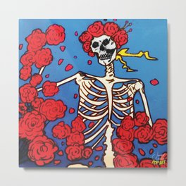Skull & Roses | Pop Art Metal Print