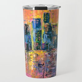 Pink Sky - abstract painting New York city skyline at sunset impressionism acrylic Travel Mug