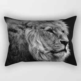 Black Print Lion Rectangular Pillow