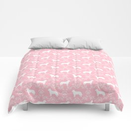 Australian Cattle Dog minimal floral silhouette pattern pink and white dog art Comforters
