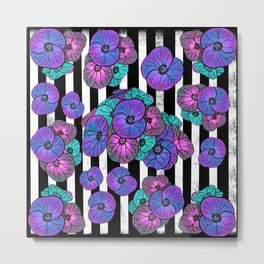 Florals over black and white stripes Metal Print