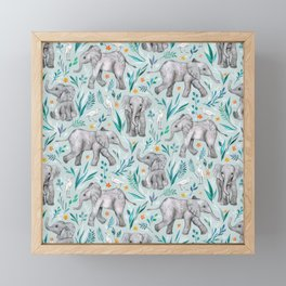 Baby Elephants and Egrets in Watercolor - egg shell blue Framed Mini Art Print