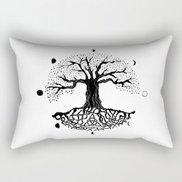 black and white tree of life with moon phases and celtic trinity knot II Rectangular Pillow