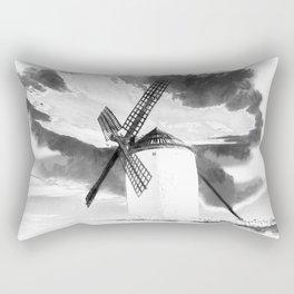 wind mill landscape digital aquarell aqbw Rectangular Pillow