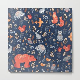 Fairy-tale forest. Fox, bear, raccoon, owls, rabbits, flowers and herbs on a blue background. Seamle Metal Print