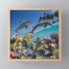 Coral Reef and Dolphins Framed Mini Art Print