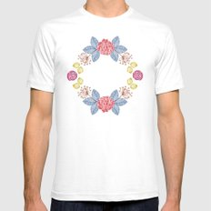 Hand Drawn Floral Wreath Design Mens Fitted Tee White SMALL