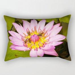 Lotus Flower and Bees Rectangular Pillow